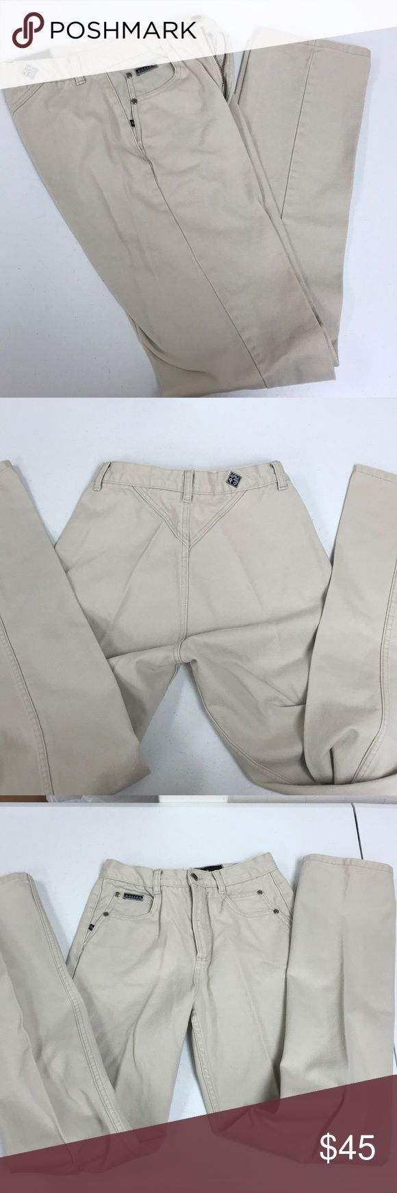 """Ladies Posted Tan Jeans, waist 28, 36""""inseam. Slim Retro Posted Ladies slim jeans, Tan in color. In excellent condition. Bareback jeans, no back pockets. These jeans can get any man to do whatever you want!!  Waist is 28, Inseam is 36. Posted Jeans Straight Leg"""