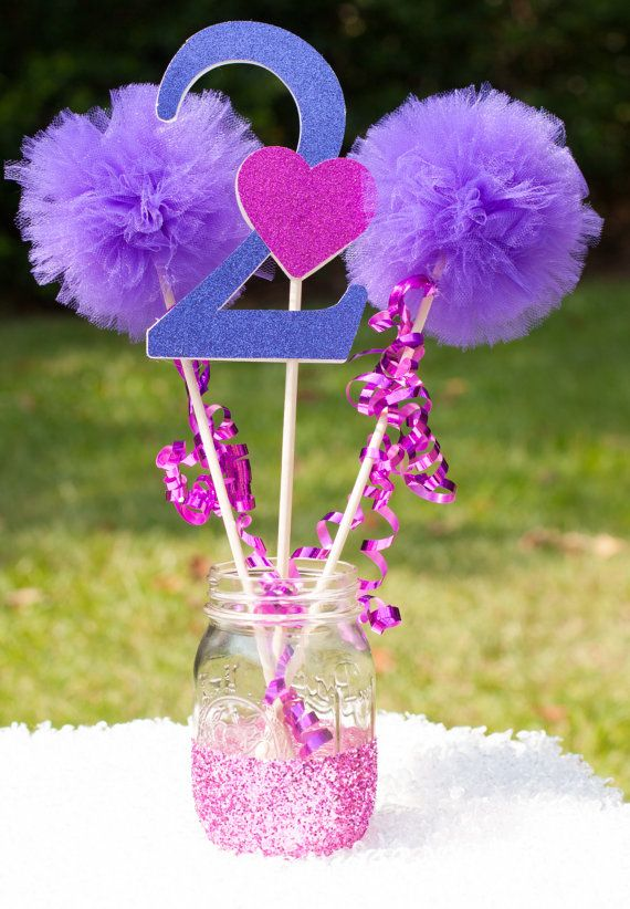 This listing is for a custom centerpiece. You will receive: 1 number stick made from glittery purple card stock and adorned with a glittery pink