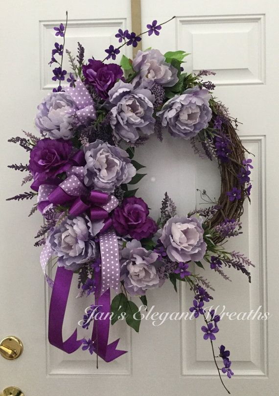 Mother's Day Gift! Spring Wreath. Summer Wreath. Purple Peonies and Roses. Peony wreath. Door wreath. Purple Wreath
