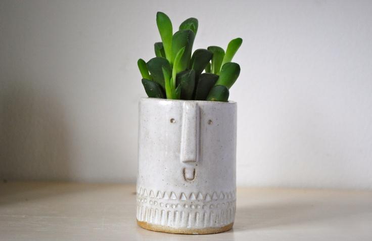 little ceramic succulent/cacti pot (shiny white speckled glaze) by Stella Baggot