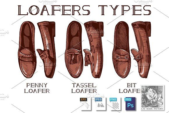Loafer shoes by CatMadePattern on @creativemarket
