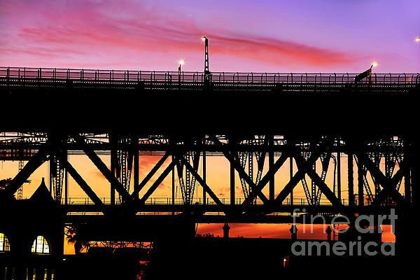 #BRIDGE #SUNSET #SILHOUETTE by #Kaye #Menner #Photography Quality Prints Cards and more at: http://kaye-menner.artistwebsites.com/featured/bridge-sunset-silhouette-by-kaye-menner-kaye-menner.html