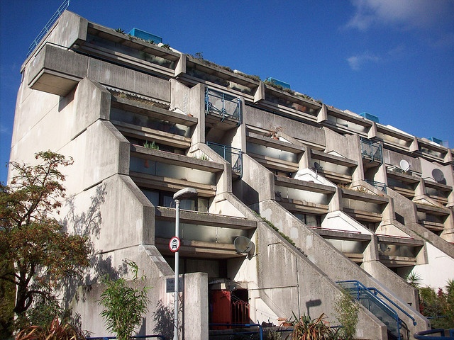 The brutalist Alexandra Road Council Estate -- cluster housing designed by Neave Brown for Camden Council's Architects Department AKA the Alexandra and Ainsworth Estate NW8, designed in 1968 - 69, construction began 1972, completed 1978
