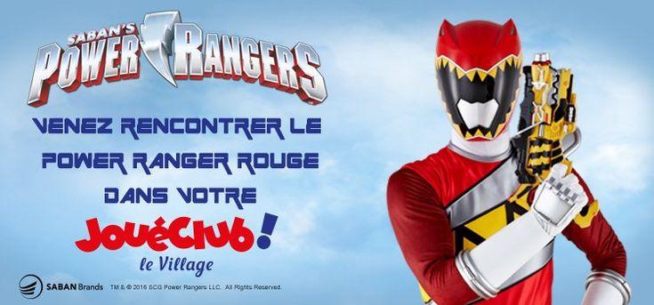 Le Power Ranger rouge sera présent dans les magasins Village Joueclub de Paris, d'Aéroville, de Lyon et de Lille le 10 décembre 2016. Pour en savoir plus, rendez-vous sur www.bandai.fr #PowerRangers #JoueClub #Rencontre
