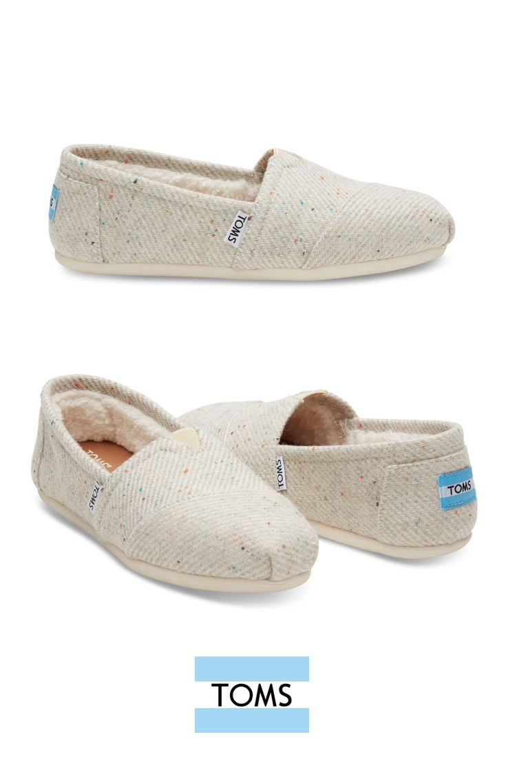 These cream speckled wool TOMS slip-on shoes with a faux shearling lining will keep you warm throughout the holidays while running errands or studying for finals.