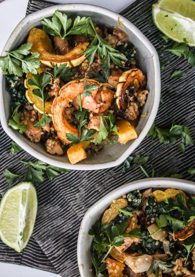 mushroom and kale salad with lime-tahini sauce