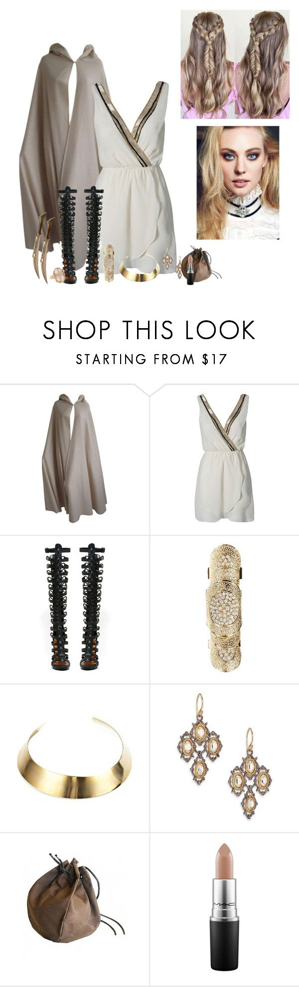 """Juliet at the end of Thor (the movie)"" by karabear3256 ❤ liked on Polyvore featuring Halston, TFNC, Shoe Cult, Love Rocks, DANNIJO, Alexis Bittar, MAC Cosmetics, Lucifer Vir Honestus and WOLL"