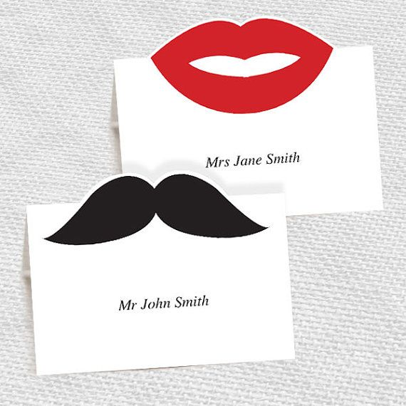 mustache and lips pop up place cards - printable editable file - escort cards moustache DIY