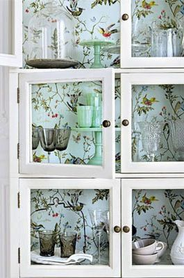 chinoiserie-backed cabinets | Chinoiserie | More here: http://mylusciouslife.com/photo-galleries/a-colourful-life-colours-patterns-and-textiles/