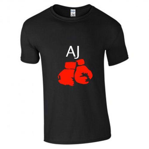 2017 New Fashion T Shirt Men Cotton Mens New Boxer Aj Anthony Joshua Gloves Print Short Sleeve Black T-shirt/top/te