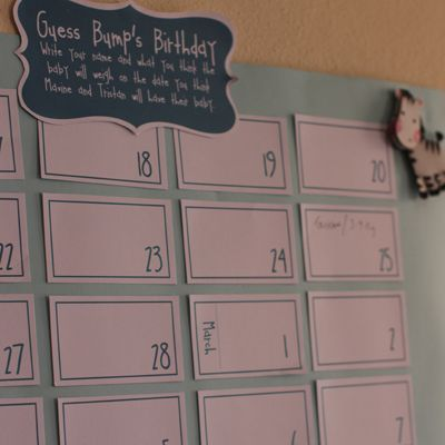 Baby shower guess the due date calendar. SO CUTE! And the one I made was just as cute! Love this and it turned out perfect! :D