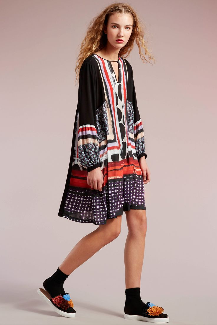"""Clover Canyon Pre-Fall 2015 . This dress have key elements that resemble historic design concepts. For example, bright colored shapes and lines make the dress an """"op art"""" style which came from the late 1960's. The length of the dress is similar to the op and pop art dresses worn by youth in the late 1960's. 4/2/15"""