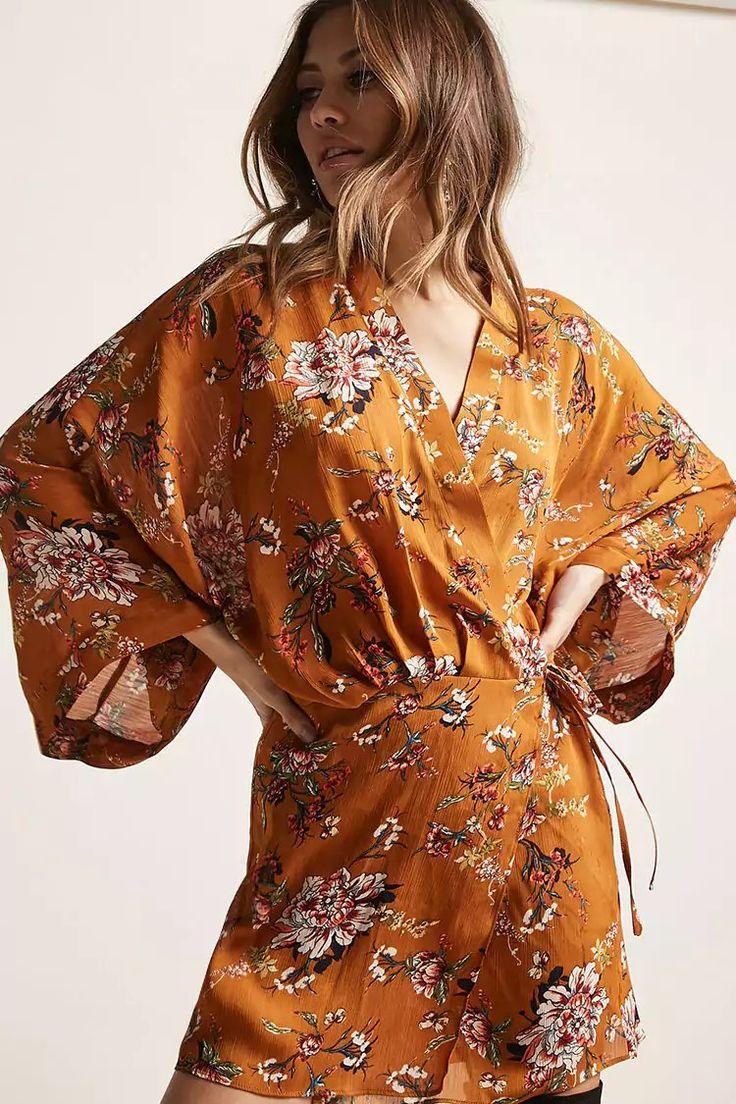 Product Name:Self-Tie Floral Print Kimono, Category:CLEARANCE_ZERO, Price:48