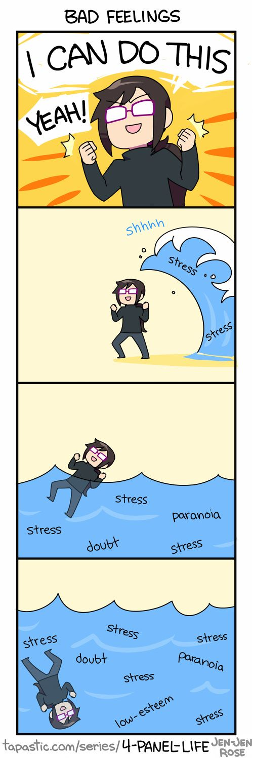 """Check out the comic """"4-Panel Life :: BAD FEELINGS"""" http://tapastic.com/episode/67430"""