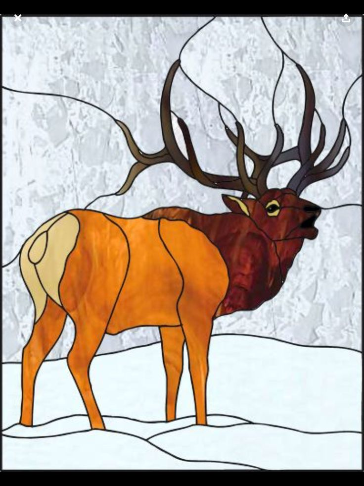 Картинки для витражей олень