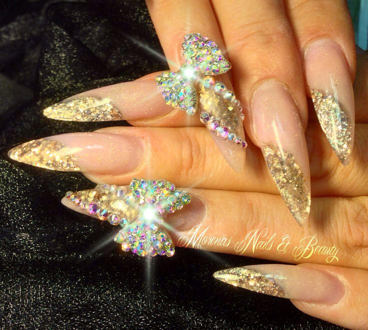 Charm nails stiletto bling swarovski gold crystals