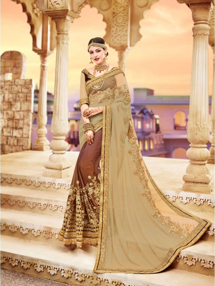 Beige Georgette Embroidery half & half Saree