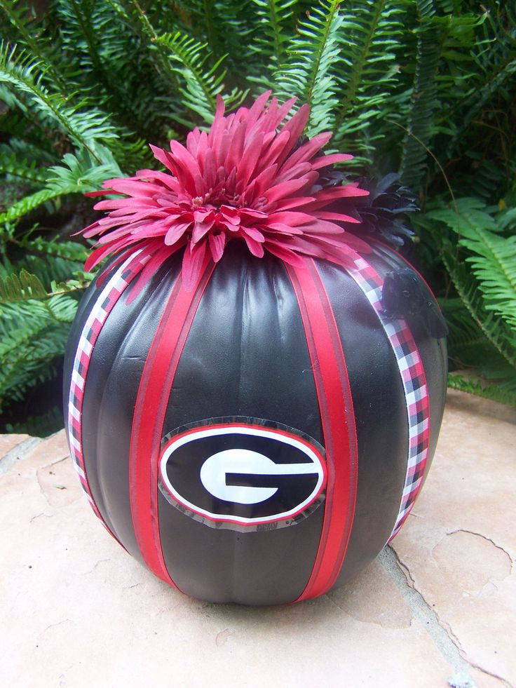 Georgia Bulldog Halloween Pumpkin by HaloDesignInteriors on Etsy, $28.00