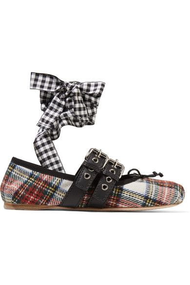 Miu Miu - Lace-up Leather-trimmed Tartan Tweed Ballet Flats - Red