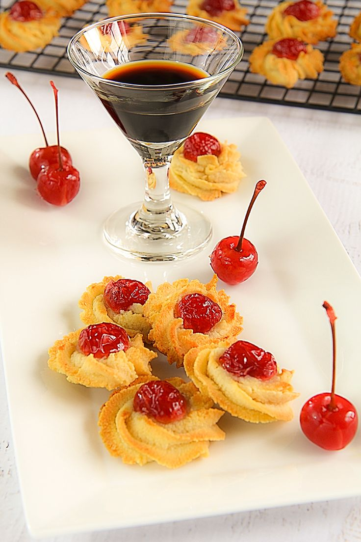 Traditional Sicilian almond biscuits with Maraschino cherries