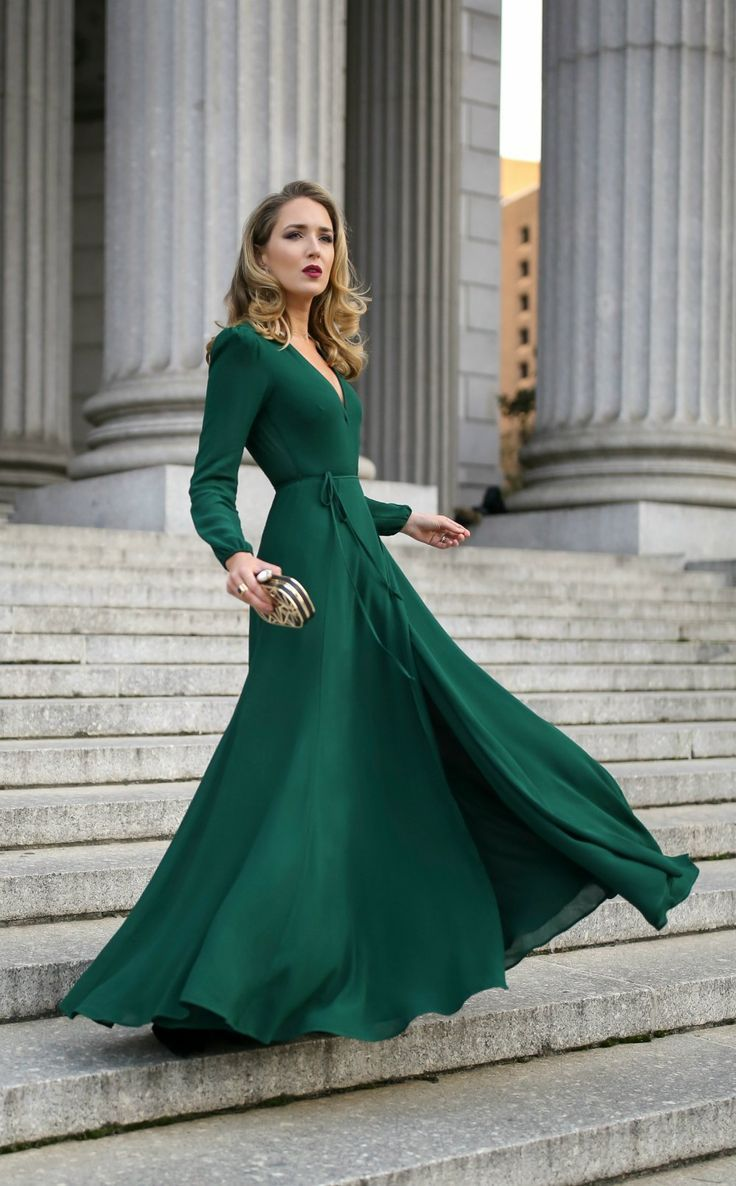 dc9d931191a What to Wear to a Black Tie Wedding    Emerald green long-sleeve floor- length wrap dress