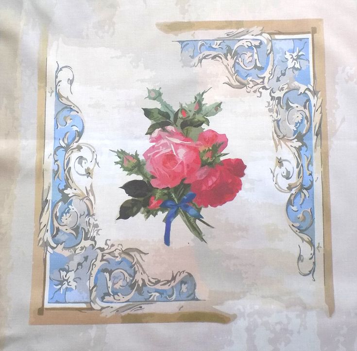 Schabby Chic Style Ready Panel Bunch of Roses Make Cushion Craft DIY 100% Cotton Quilting  DIY Craft Panel