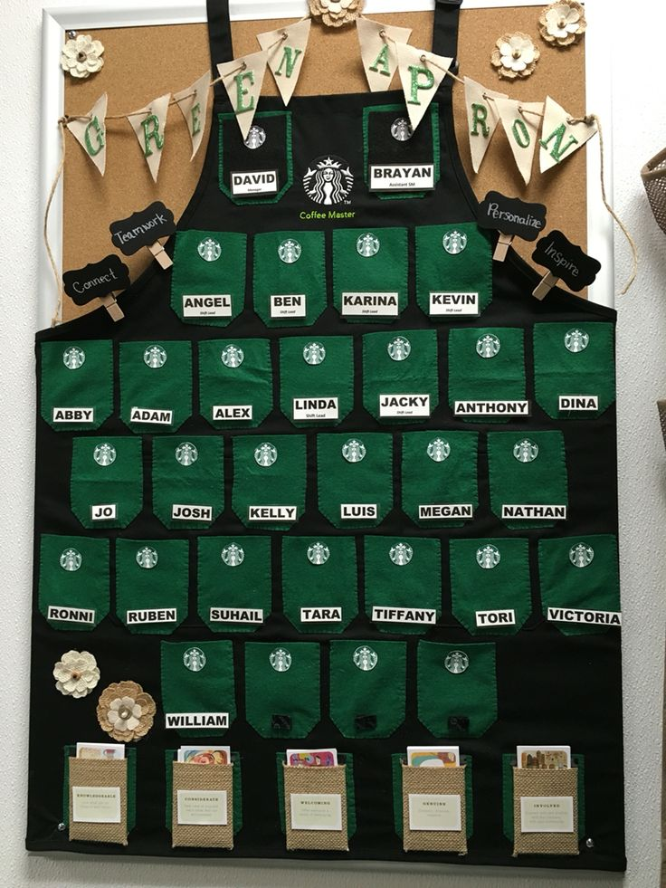 Starbucks green apron board