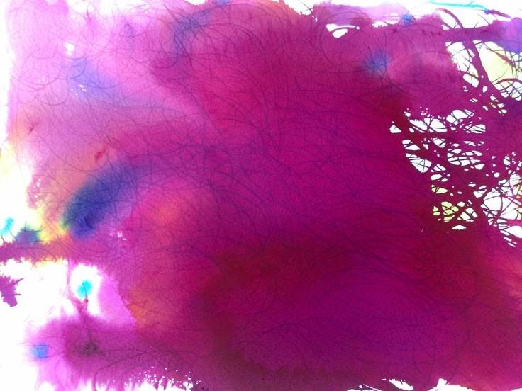 Kirsty Basram: Procion dyes dropped on to wet paper and moved with the tip of the pipette to create lines
