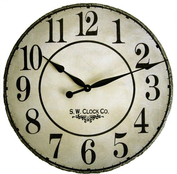 Delicieux 24 Inch French Grand Gallery Large Wall Clock   Antique Style Big Cream  Crackle Off White Round Big