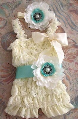 Vintage Girl Posh Petti Ruffle Romper headband belt three colors available