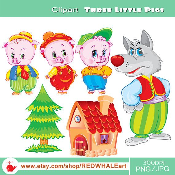 Three Little Pigs  Digital Clipart Elements Set / 6 by REDWHALEart, $2.50