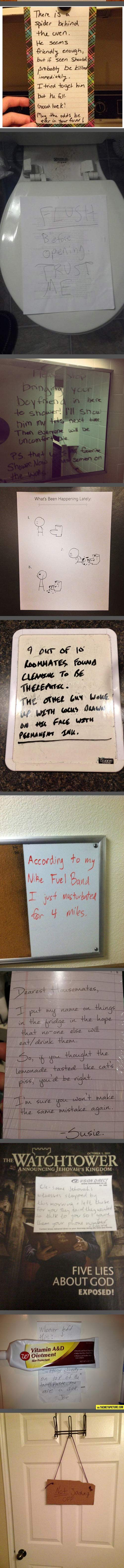 Notes from roommates…