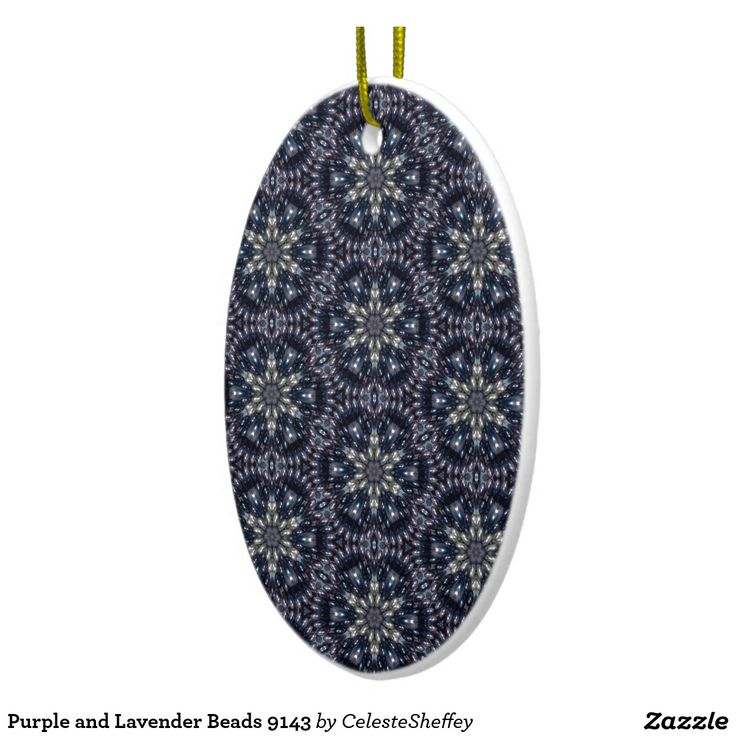 Purple and Lavender Beads 9143 Double-Sided Oval Ceramic Christmas Ornament