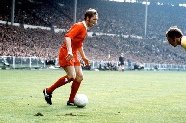 8th May 1971. Liverpool substitute Peter Thompson takes on Arsenal's Bob McNab in the FA Cup Final at Wembley