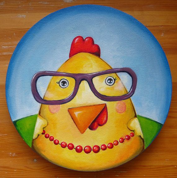 Madame Koko, Round Canvas, Oil Painting, Bird in Glasses, MikiMayo, Original Art, Animals, Oil on canvas