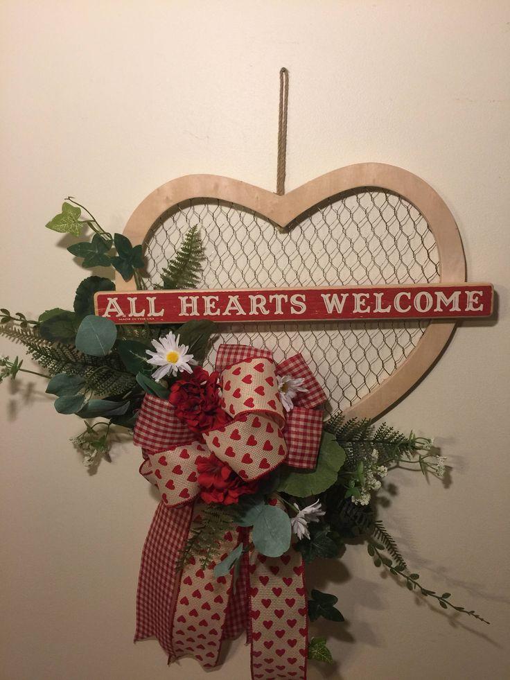 4dec471167cc55b7106c61461ff388f0 - Valentine's Day Wreath, Farmhouse Style Valentine's Day Wreaths, Front Door Vale...