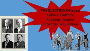 Everything about the Progessive Era Presidential Election of 1912! This packet includes direct excerpts from the political platforms of the Democrat, Republican, Progressive, and Socialist Party on the key issues of the election, along with a graphic organizer and guided reading questions.