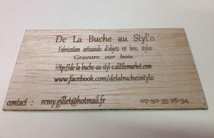 fait main de façon artisanale cartes de visites en bois à personnalisées (lot de 25) : Cartes par de-la-buche-au-styl-o