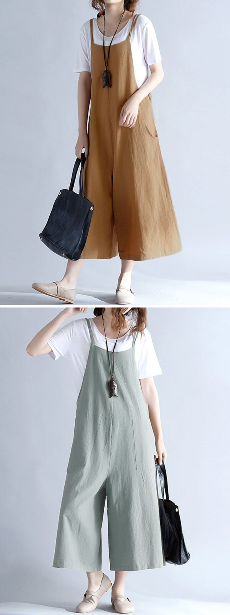 US$ 21.86 O-NEWE Casual Women Loose Solid Strap Pocket Overall Jumpsuits