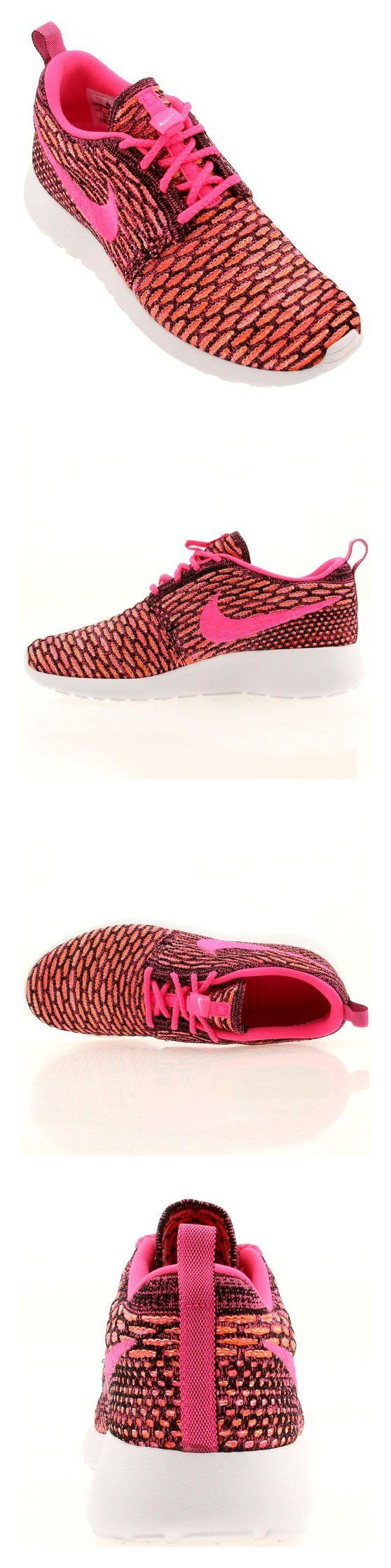 $120 - Nike Womens WMNS Rosherun Flyknit Black/Pink Pow-White-Total Orange Synthetic Size 6.5 Running #shoes #nike #2011