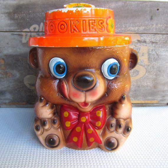 Vintage Bear with Bow Orange Hat Ceramic Cookie Jar by corrnucopia, $26.00