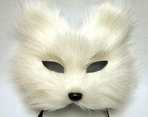 white fox mask feather mask/ White Cat face/ fox / half face, eye mask