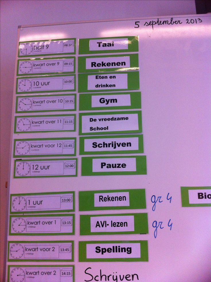 Rooster met kloktijden om het klokkijken te stimuleren. Zie andere delen om zelf uit te printen. Totaal 6 delen met kaartjes.