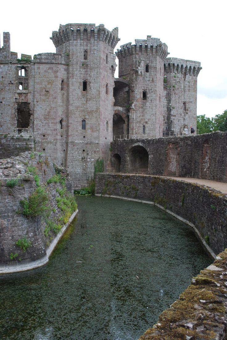 a castle in Wales, love the moat!
