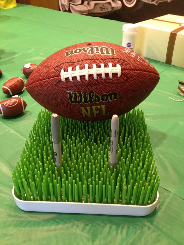 football baby shower - football guest book that each guest signed!