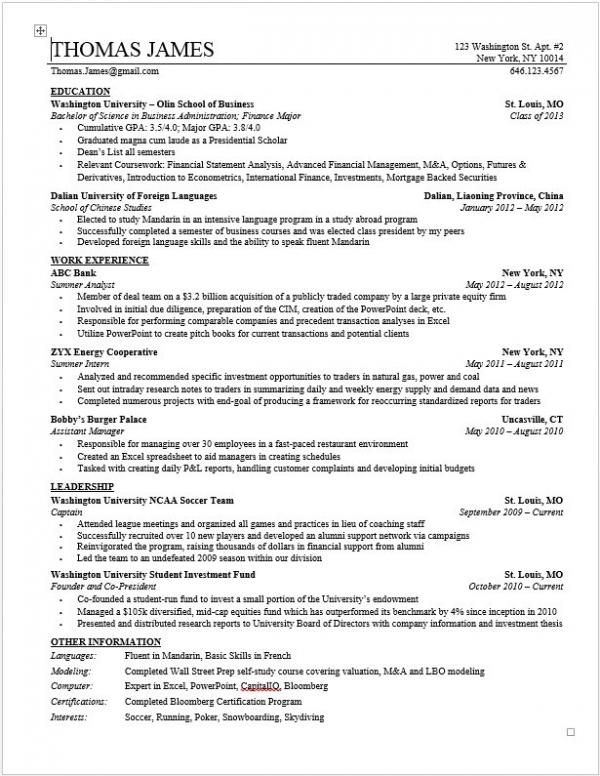 Investment Banking Resume Pdf - Submission specialist