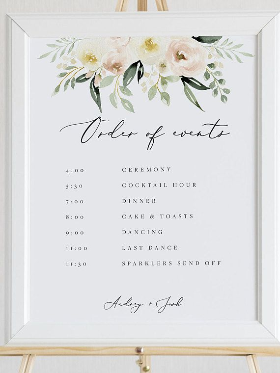 Wedding Order Of Events Template Blush Floral Wedding Order Of Wedding Order Of Events Order Of The Day Wedding Wedding Day Timeline