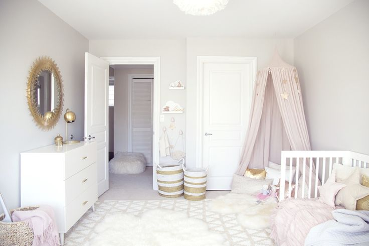pink, gold, grey and white overall girl room.  Simple and elegant