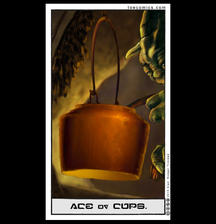 "I know, I'm getting lazy with my essays. But this card can pretty much be explained with this video: So, basically, the Ace is about the ""energy"" being there… yet not. Luke hasn't started his training, although patience and having root leaf stew is part of the training. Cups are associated with emotions and feelings.…"