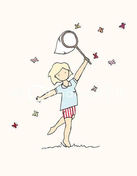 Childrens Art Print - Nursery Art Print - GIRLS Kids Room Decor - Catching Butterflies- 8x10. $12.00, via Etsy.